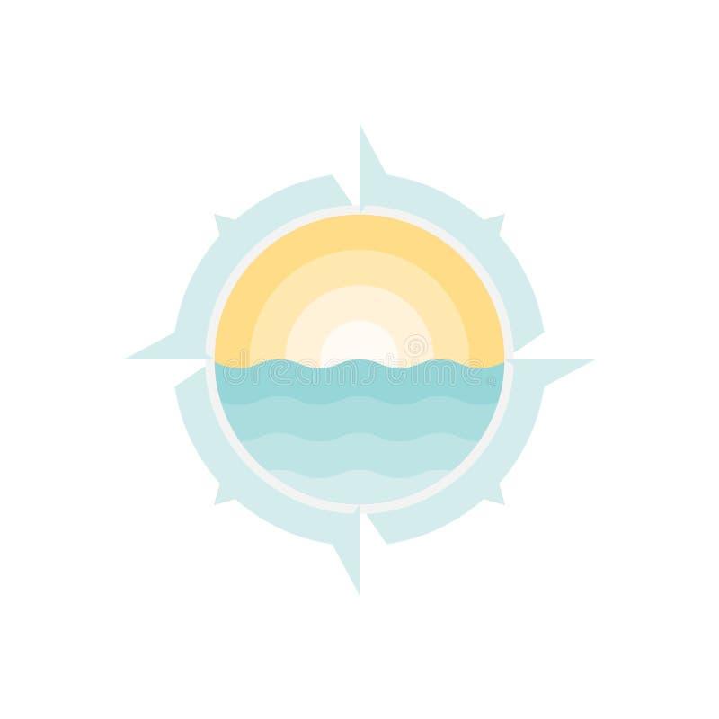 Molde do projeto do vetor do logotipo do compasso e do mar ilustração stock