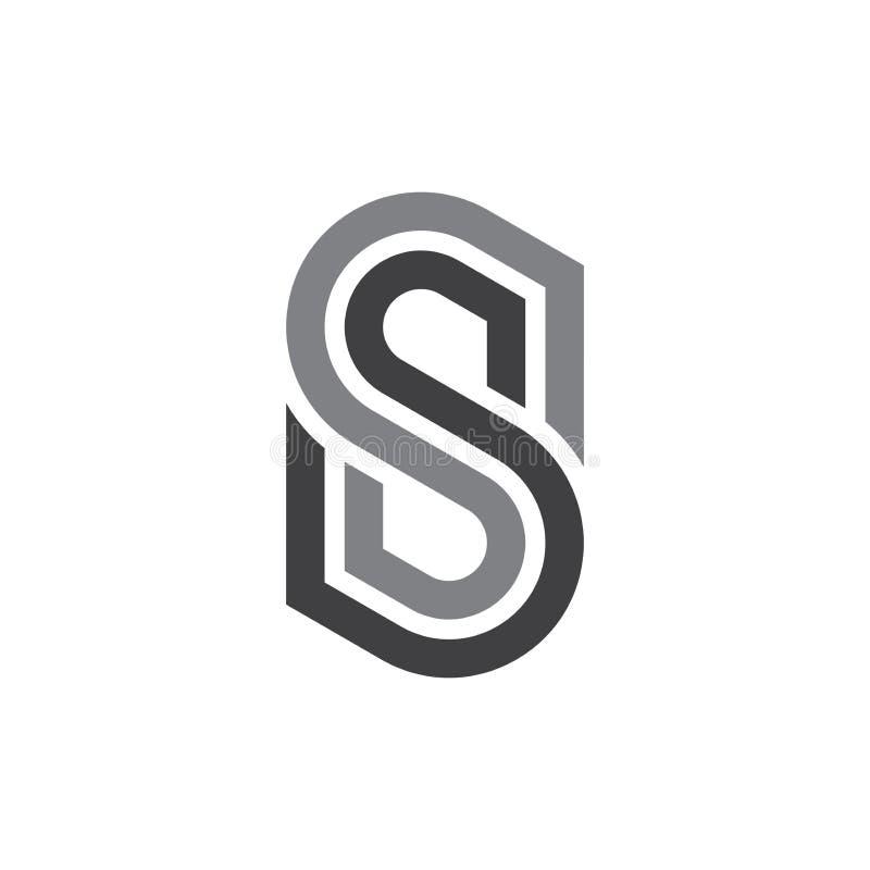 Molde do projeto do vetor do logotipo dos SS da letra inicial ilustração royalty free