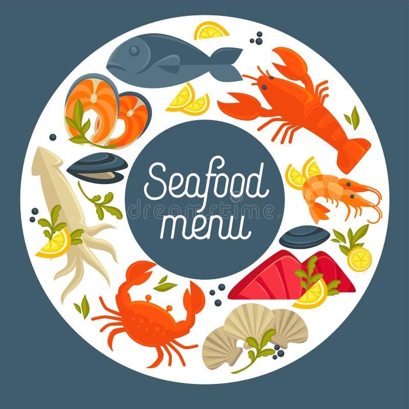 Molde do projeto do vetor do menu do restaurante do marisco para o alimento de mar gourmet dos peixes frescos ilustração do vetor