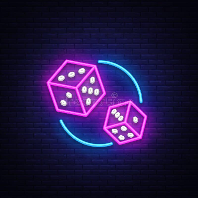 Molde do projeto do vetor do sinal de néon dos dados Corte o logotipo de néon dos símbolos do jogo, projeto moderno colorido do e ilustração do vetor
