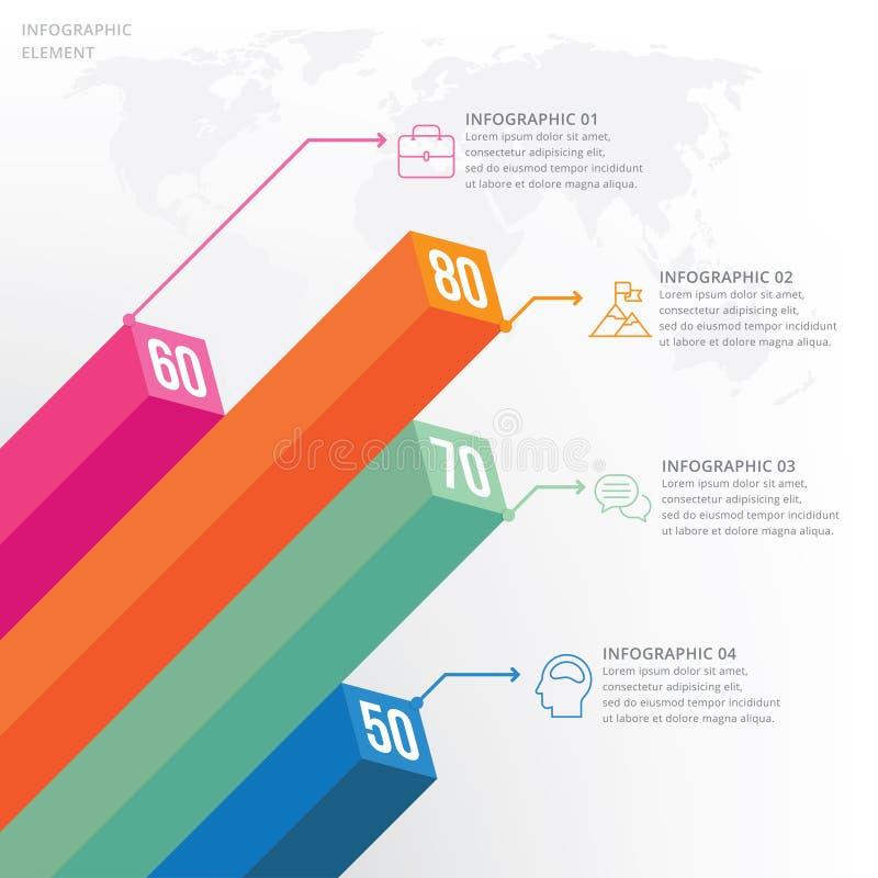 molde do projeto do vetor do visualização dos dados do elemento do informação-gráfico 3D ilustração do vetor
