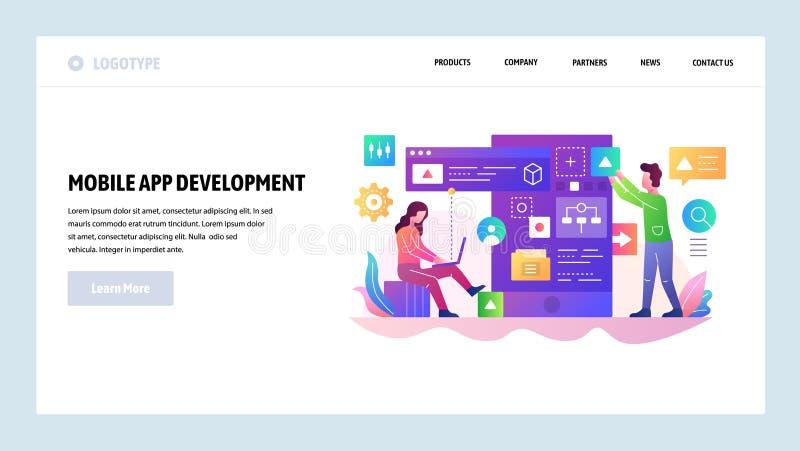 Molde do projeto do Web site do vetor Equipe de desenvolvimento móvel do app, programador para construir um código de software Co ilustração royalty free