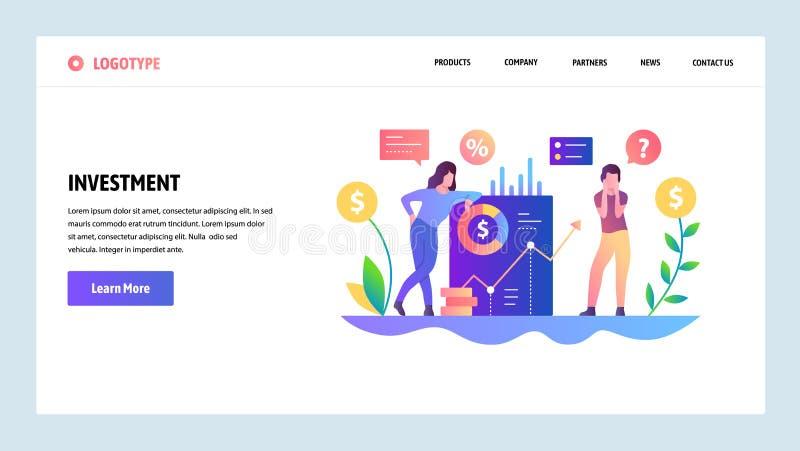 Molde do projeto do Web site do vetor Investimento do dinheiro e crescimento de lucro Conceitos de aterrissagem da página para o  ilustração stock