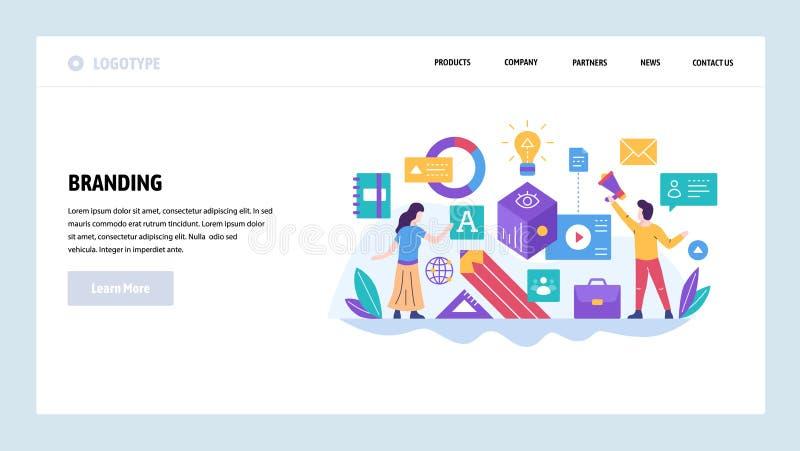 Molde do projeto do Web site do vetor Mercado e identidade marcando, digitais da empresa Negócio do tipo Conceitos da página da a ilustração royalty free
