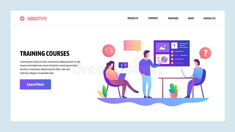 Molde do projeto do Web site do vetor Reunião de negócios e apresentação Curso de formação com tutor Conceitos da página da aterr ilustração stock