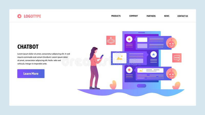 Molde do projeto do Web site do vetor Serviço em linha do bot e de apoio ao cliente do bate-papo do AI Conceitos da página da ate ilustração stock
