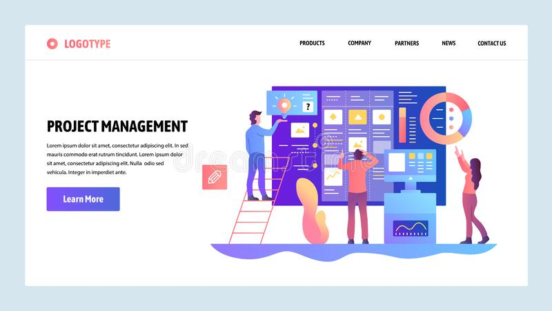 Molde do projeto do Web site do vetor Trabalhos de equipe ágeis da gestão do projeto e do negócio Conceitos da página da aterriss ilustração stock