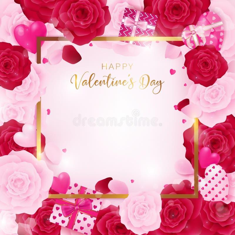 Molde do quadrado do dia do ` s do Valentim do amor da vista superior ilustração royalty free