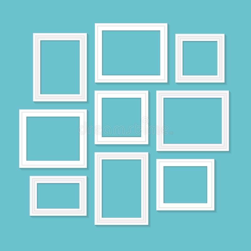 Molde do quadro ajustado para imagens e fotos Vetor isolado ilustração royalty free