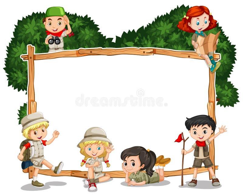 Molde do quadro com as crianças no equipamento do safari ilustração royalty free