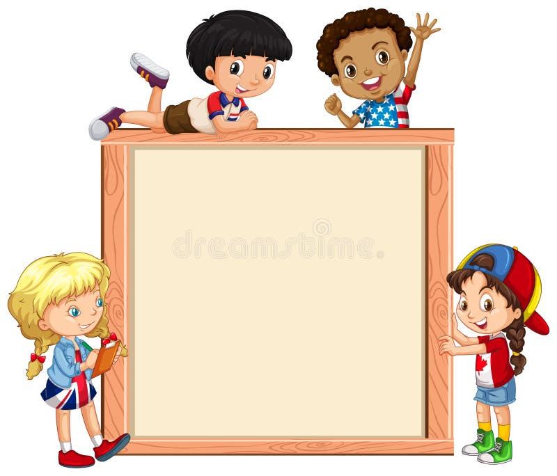 Molde do quadro com crian?as felizes ilustração do vetor