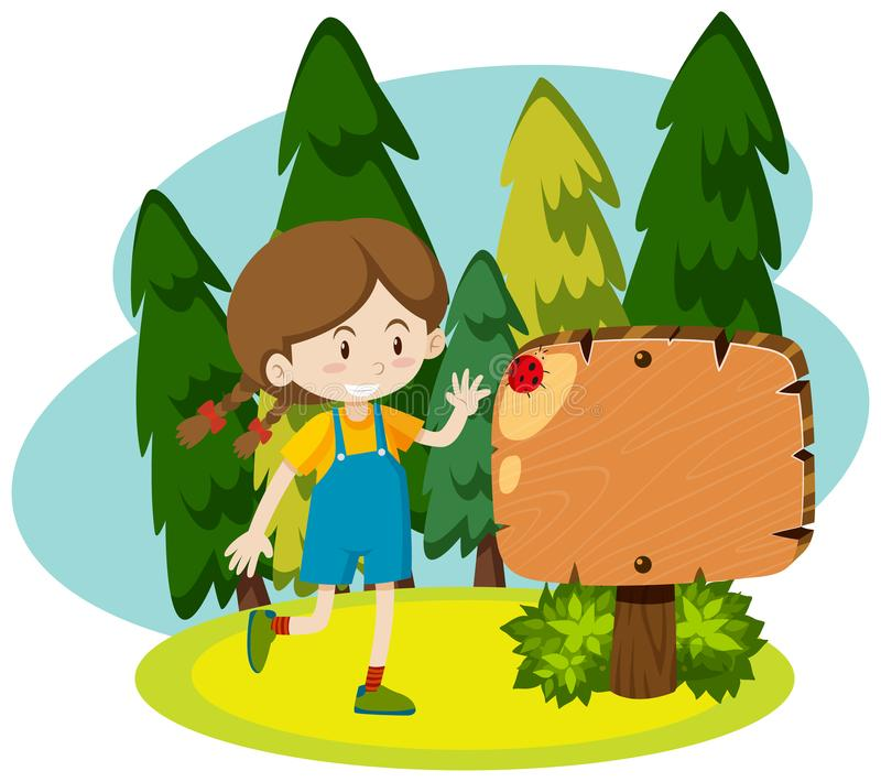 Molde do quadro com a menina feliz no parque ilustração stock