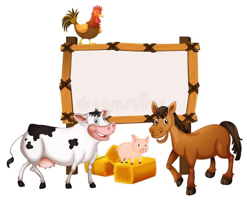 Molde do quadro com os animais na exploração agrícola ilustração do vetor