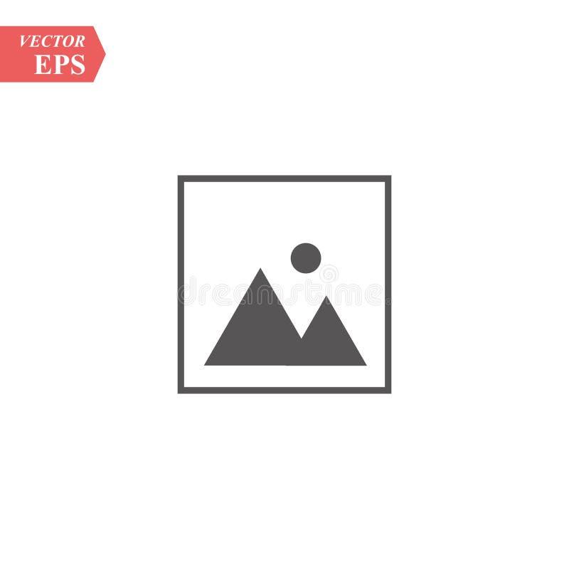 Molde do quadro da foto com ícone do sinal da paisagem Símbolo da fotografia da natureza Ícone liso da Web da foto da paisagem no ilustração royalty free
