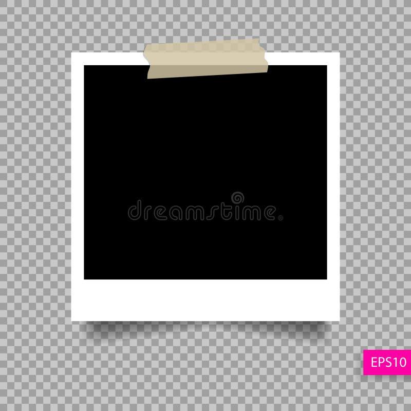 Molde do quadro da foto do Polaroid no pino pegajoso da fita ilustração do vetor