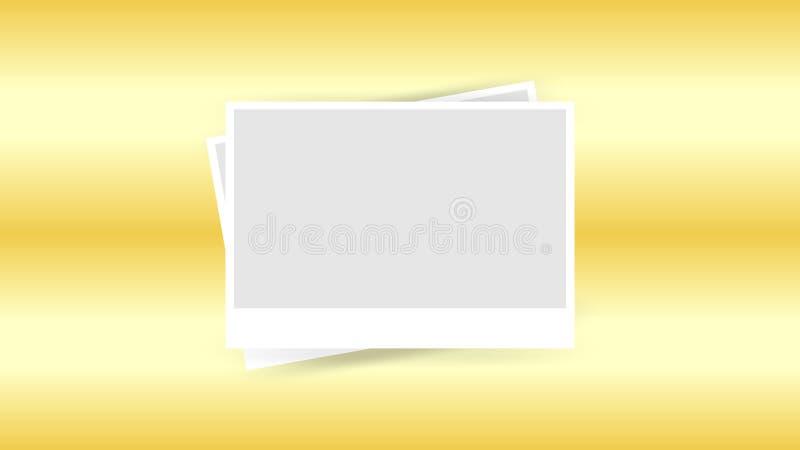 Molde do quadro da foto isolado no fundo do ouro, colagem da foto dos quadros em dourado para a bandeira, imagem simples dos quad ilustração do vetor