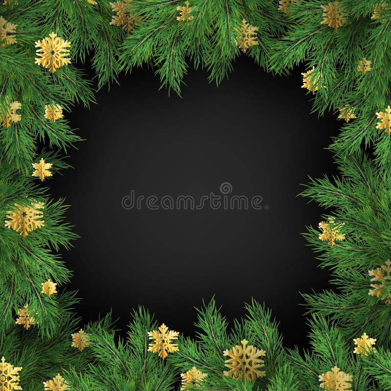 Molde do quadro de cartão do feriado do Natal de decorações dos flocos de neve e de ramos de árvore dourados do abeto Eps 10 ilustração royalty free