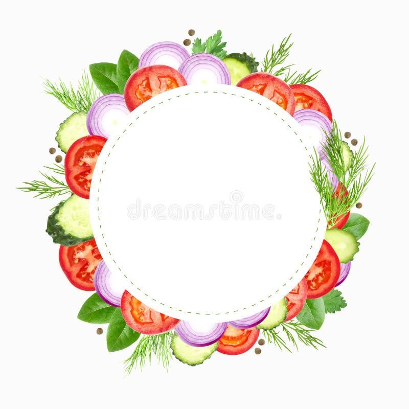Molde do quadro dos vegetais e das ervas A cebola, os tomates, o aneto, a salsa e o louro cortados roxos deixam a beira isolada e ilustração stock