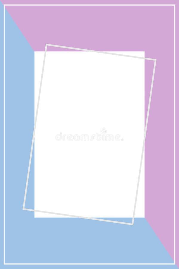 Molde do quadro para o fundo da bandeira, o roxo e o azul de duas cores pastel, forma colocada lisa da bandeira azul roxa do quad ilustração royalty free