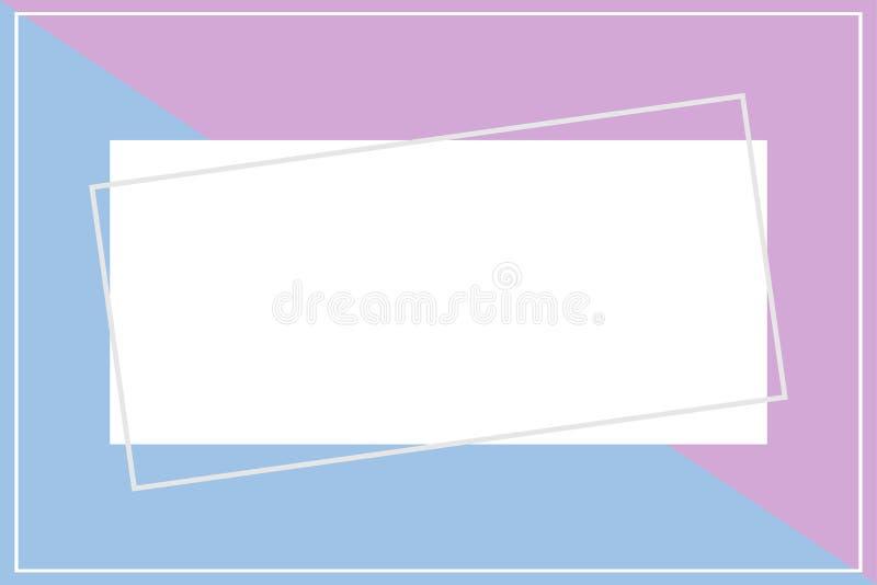 Molde do quadro para o fundo da bandeira, o roxo e o azul de duas cores pastel, forma colocada lisa da bandeira azul roxa do quad ilustração stock