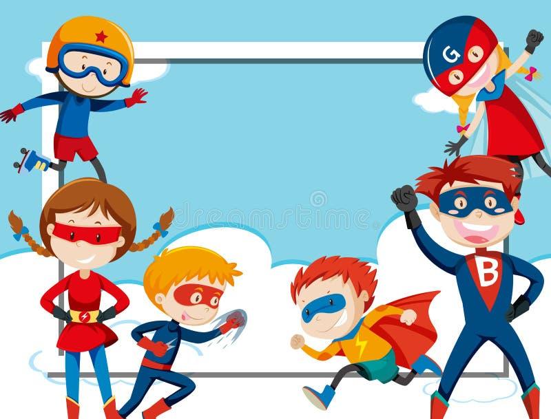 Molde do quadro do super-herói ilustração royalty free