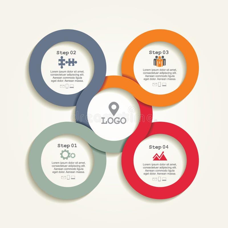 Molde do relatório de Infographic com linhas e ícones ilustração royalty free