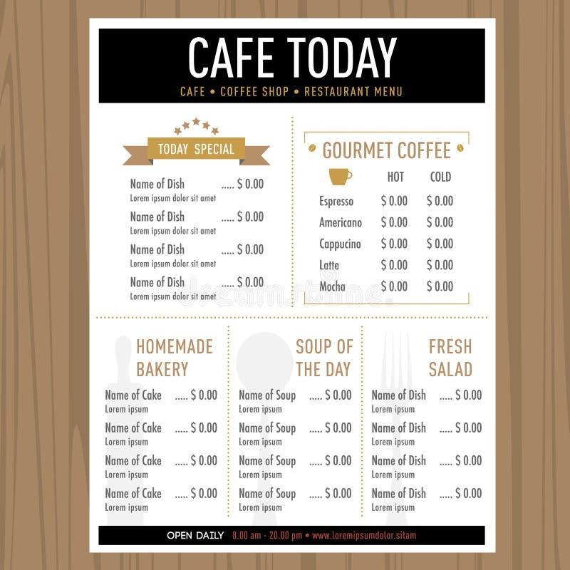 Molde do restaurante do café do projeto do menu com ícones e texto ilustração stock
