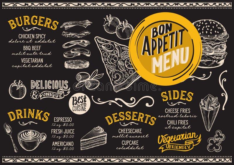 Molde do restaurante do menu do alimento ilustração royalty free