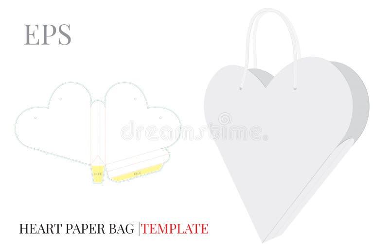 Molde do saco do presente do coração Vetor com linhas cortado/do laser corte ilustração do vetor