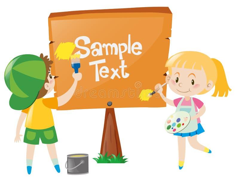 Molde do sinal com as crianças que pintam o sinal ilustração royalty free