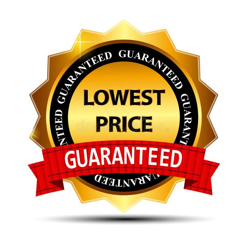 Molde do sinal da etiqueta do ouro da garantia do mais baixo preço ilustração do vetor