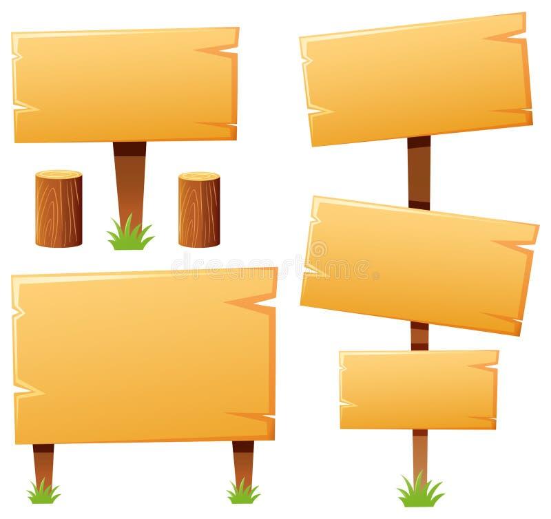 Molde do sinal feito da madeira ilustração royalty free