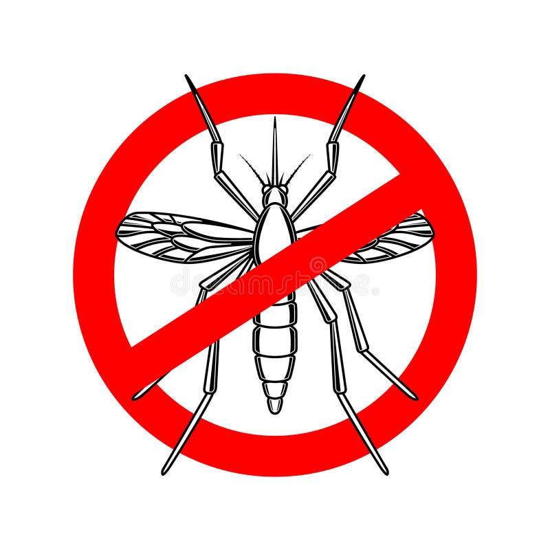 Molde do sinal do perigo do mosquito Projete o elemento para o cartaz, cartão, emblema, logotipo ilustração do vetor