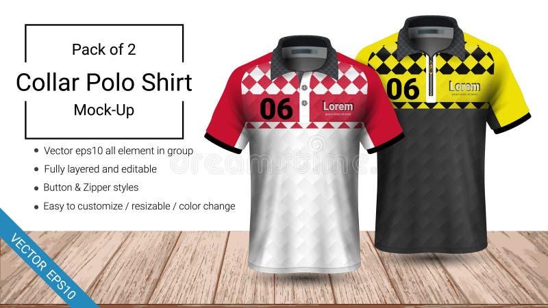 Molde do t-shirt do colar do polo, arquivo do vetor eps10 mergulhado inteiramente e editável preparado para apresentar projetar ilustração stock