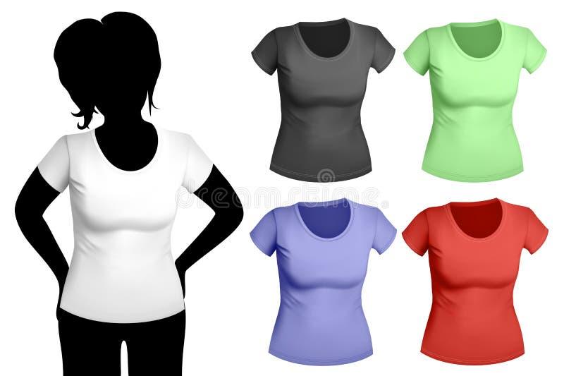 Molde do t-shirt das mulheres ilustração royalty free
