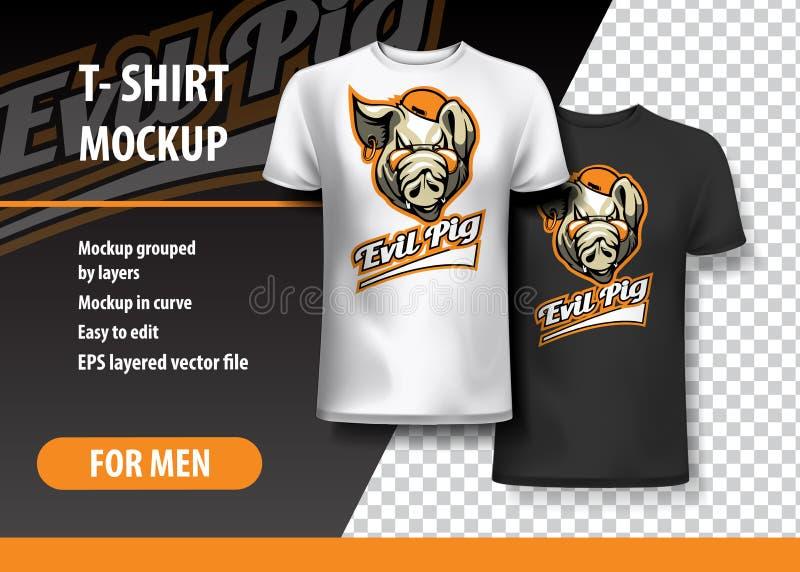 Molde do t-shirt, inteiramente editável com porco mau Team Logo Ilustração do vetor do EPS 10 ilustração do vetor
