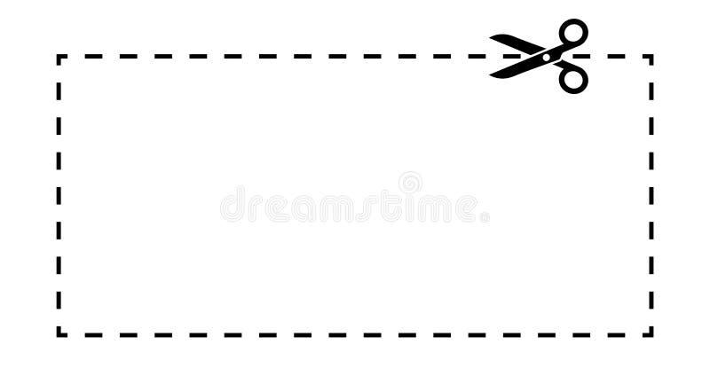 Molde do vale Linha tracejada com etiqueta preta do vetor das tesouras ilustração royalty free