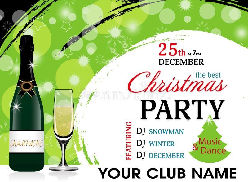 Molde do verde do convite da festa de Natal com garrafa e copo de vinho do champanhe Fundo do ano novo Vetor ilustração royalty free