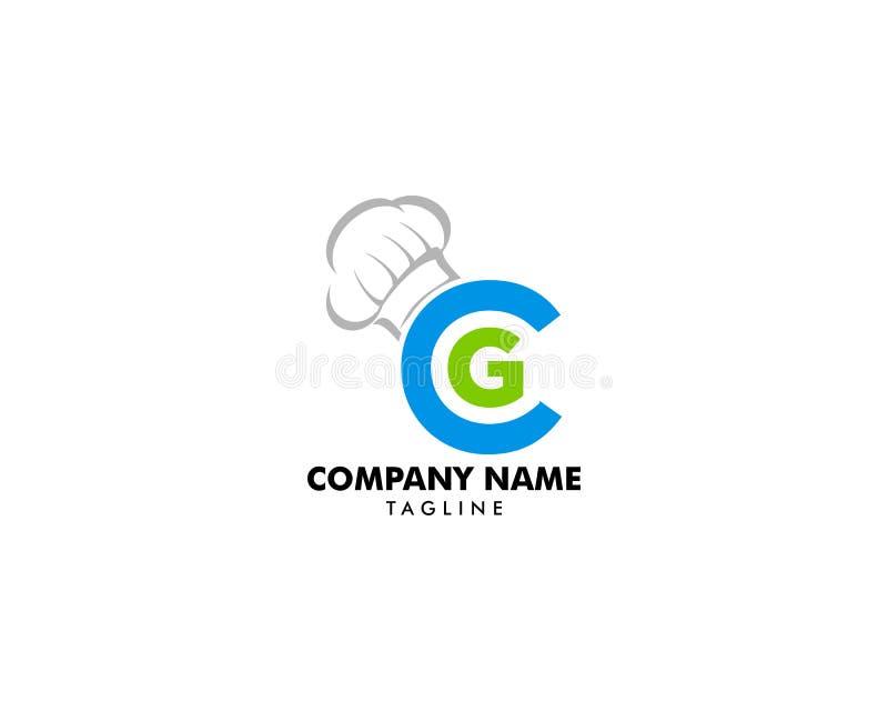 Molde do vetor do ícone do logotipo do chapéu da letra e do cozinheiro chefe do CG ilustração stock