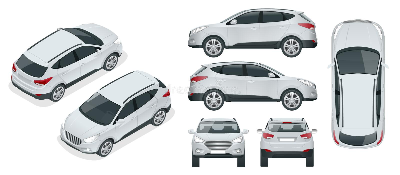 Molde do vetor do carro no fundo branco Cruzamento compacto, CUV, carro da carrinha de 5 portas Vetor do molde isolado ilustração do vetor
