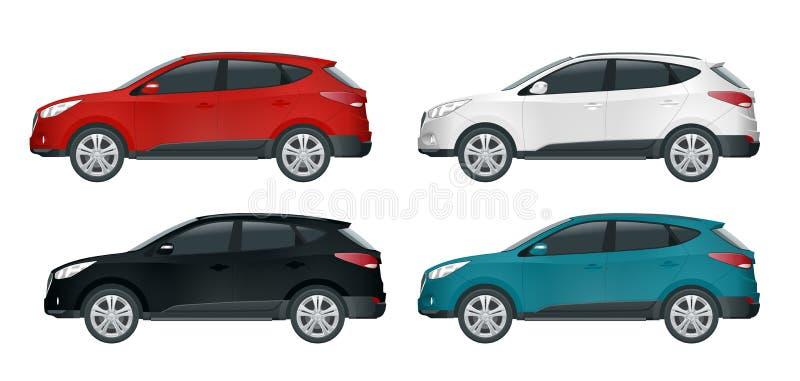 Molde do vetor do carro no fundo branco Cruzamento compacto, CUV, carro da carrinha de 5 portas Vetor do molde isolado ilustração stock