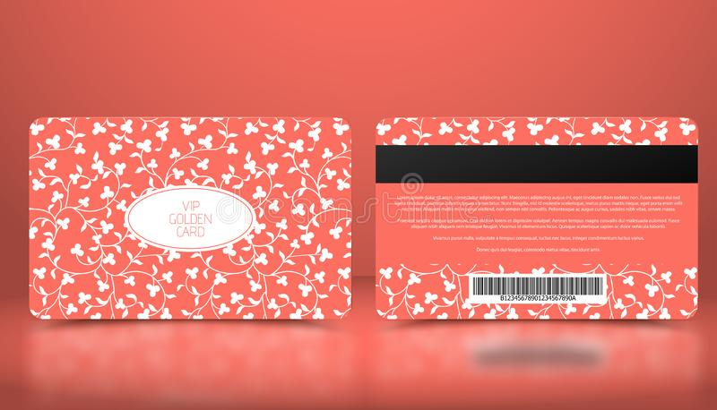 Molde do vetor do cartão cor-de-rosa coral do VIP da sociedade ou da lealdade com teste padrão floral branco elegante Presente ve ilustração stock