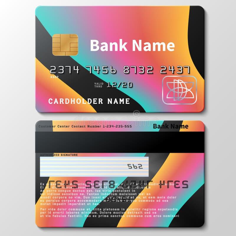 Molde do vetor do cartão de crédito com formas fluidas coloridas futuristas do sumário 3d ilustração stock