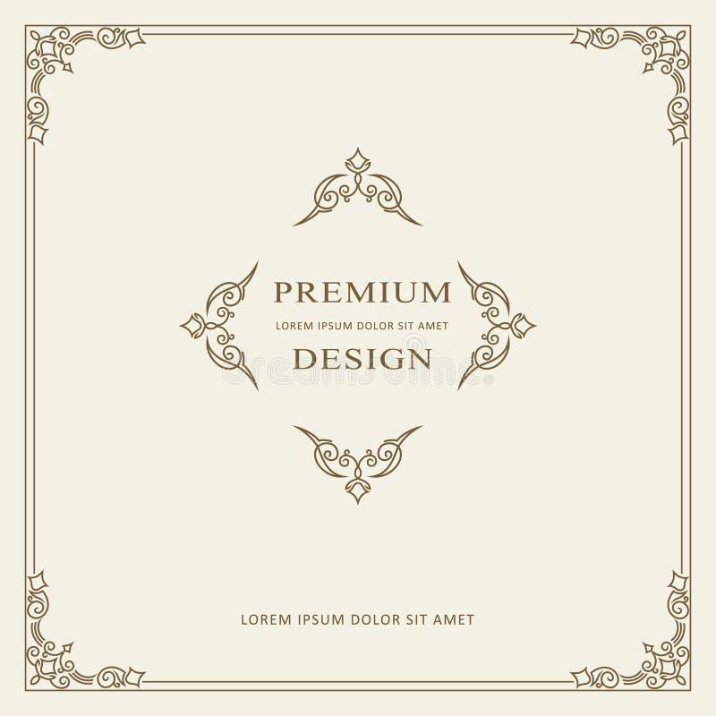 Molde do vetor do cartão do ornamento do vintage Convite luxuoso retro, certificado real Quadro dos Flourishes Fundo do vetor ilustração do vetor