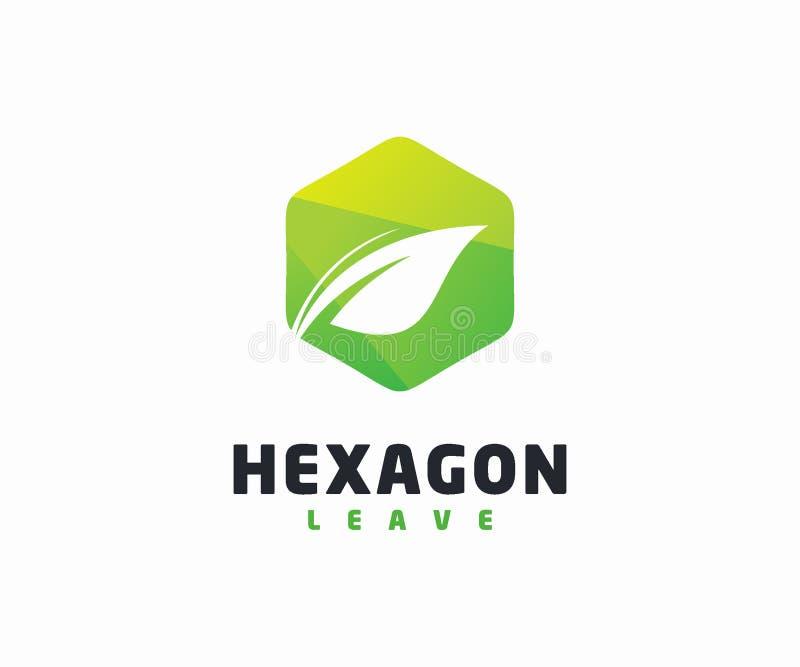 Molde do vetor do conceito de projeto do logotipo do hexágono e da folha ilustração royalty free