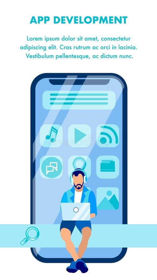 Molde do vetor da bandeira do desenvolvimento do App de Smartphone ilustração do vetor