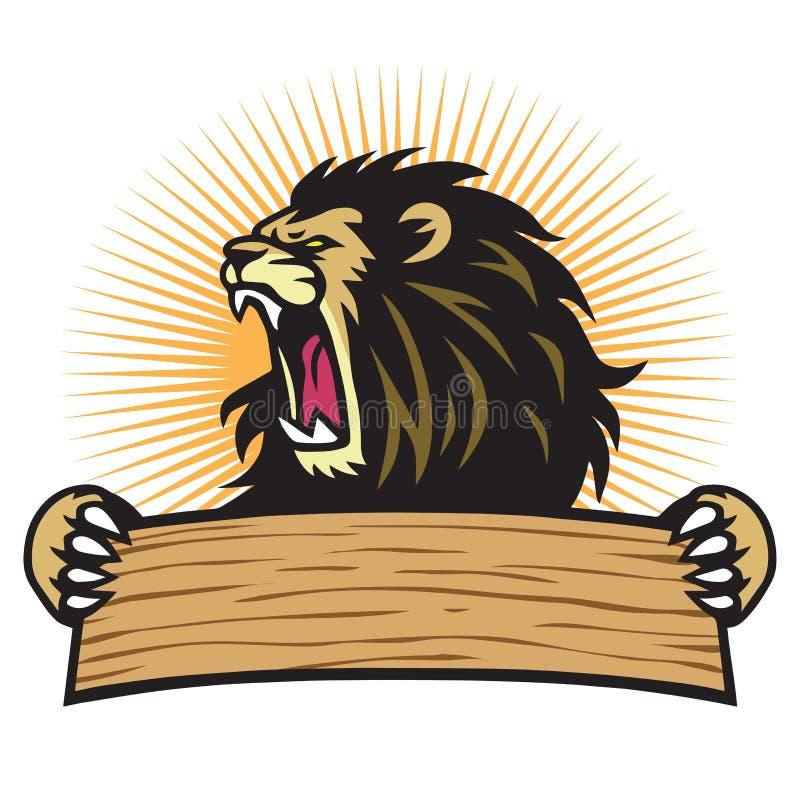 Molde do vetor da bandeira da placa da posse de Lion Roaring Sport Mascot Logo ilustração do vetor