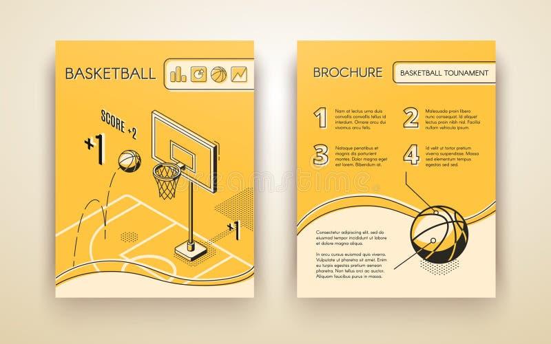 Molde do vetor da cópia do convite do fósforo de basquetebol ilustração royalty free