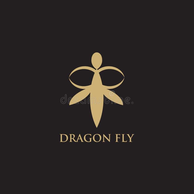 Molde do vetor da inspiração do logotipo da mosca do dragão ilustração royalty free