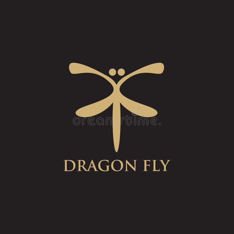 Molde do vetor da inspiração do logotipo da mosca do dragão ilustração stock